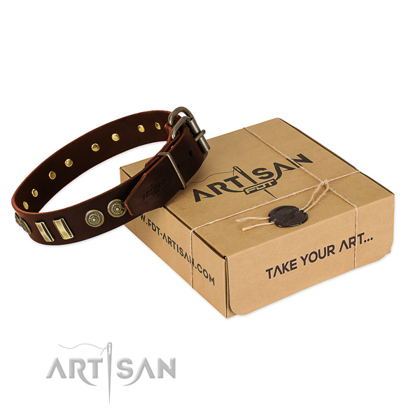 Rust resistant D-ring on natural leather dog collar for your canine