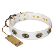 """Lovely Lace"" FDT Artisan White Leather dog Collar with Old Bronze Look Ovals"