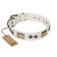"""Golden Avalanche"" FDT Artisan White Leather dog Collar with Old Bronze Look Plates and Circles"