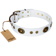 """Magnetic Appeal"" FDT Artisan White Leather dog Collar with Old Bronze Look Decorations"