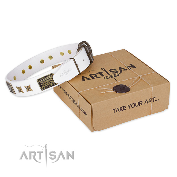 Strong hardware on full grain natural leather collar for your stylish dog