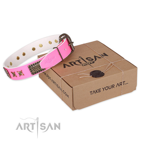 Reliable traditional buckle on genuine leather collar for your attractive doggie