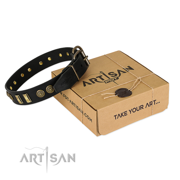 Reliable D-ring on full grain genuine leather dog collar for your doggie