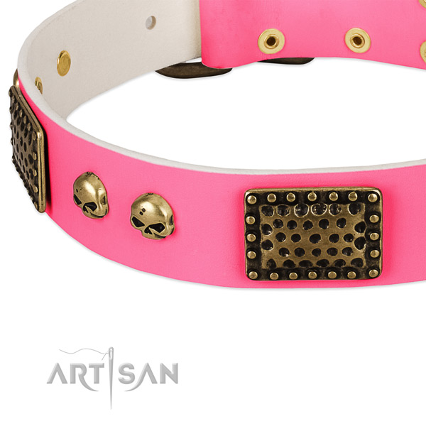 Reliable decorations on natural leather dog collar for your canine