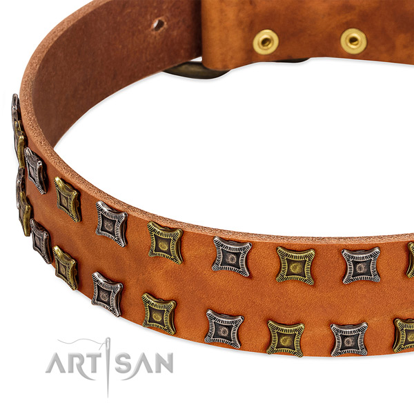 Soft full grain natural leather dog collar for your lovely four-legged friend
