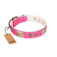 """Pink Splash"" FDT Artisan Soft Leather dog Collar with Bronze-like Plates and Medallions"