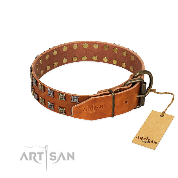 Soft to touch full grain natural leather dog collar crafted for your doggie