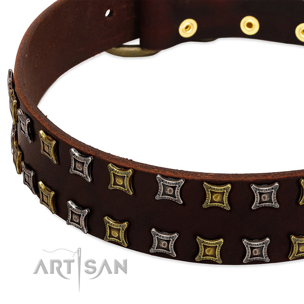 Top notch full grain genuine leather dog collar for your attractive doggie