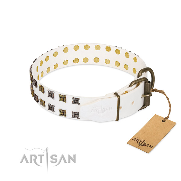 Full grain genuine leather collar with stylish decorations for your doggie