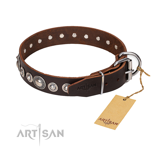 Full grain natural leather dog collar made of reliable material with durable D-ring
