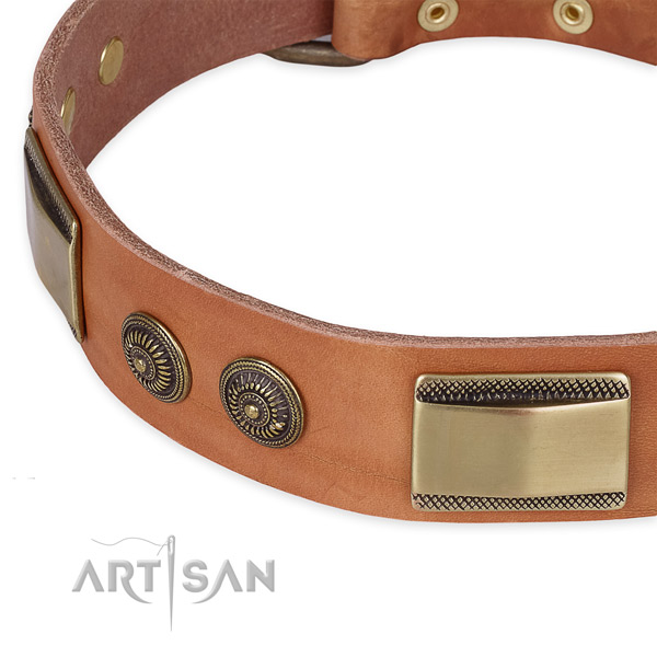 Exceptional natural genuine leather collar for your impressive pet