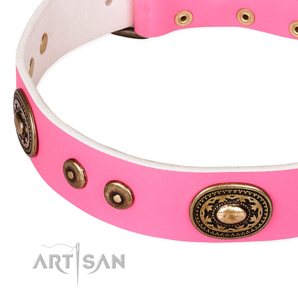 Full grain natural leather dog collar made of high quality material with adornments