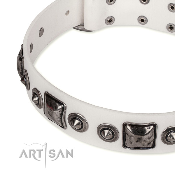 Soft to touch genuine leather dog collar handcrafted for your beautiful canine