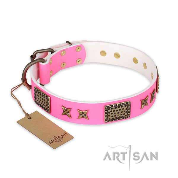 Exceptional full grain natural leather dog collar with reliable hardware