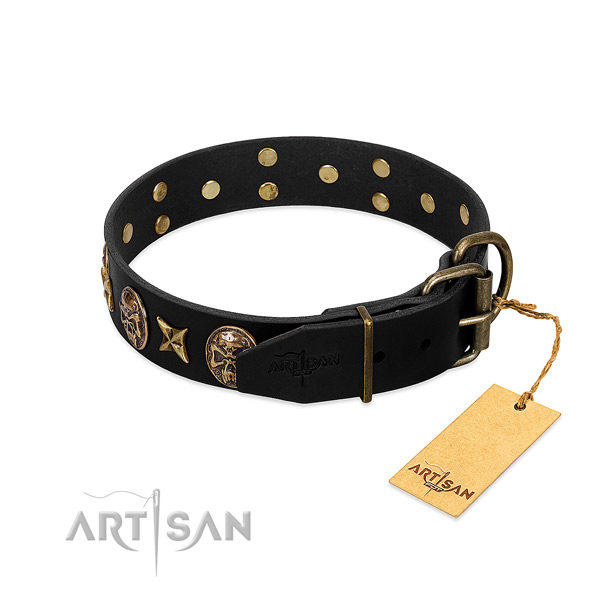 Rust-proof studs on natural genuine leather dog collar for your doggie