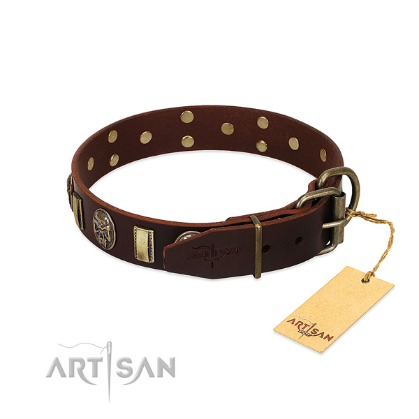 Genuine leather dog collar with rust-proof traditional buckle and adornments