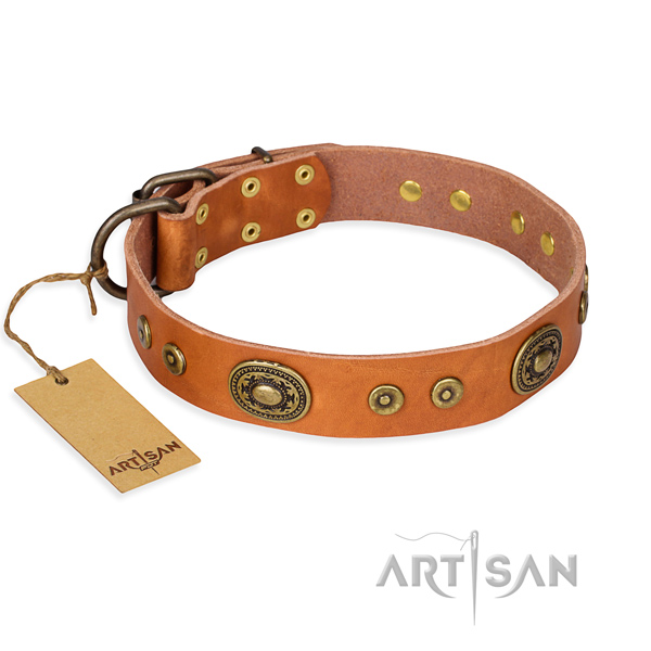 Genuine leather dog collar made of quality material with rust-proof traditional buckle