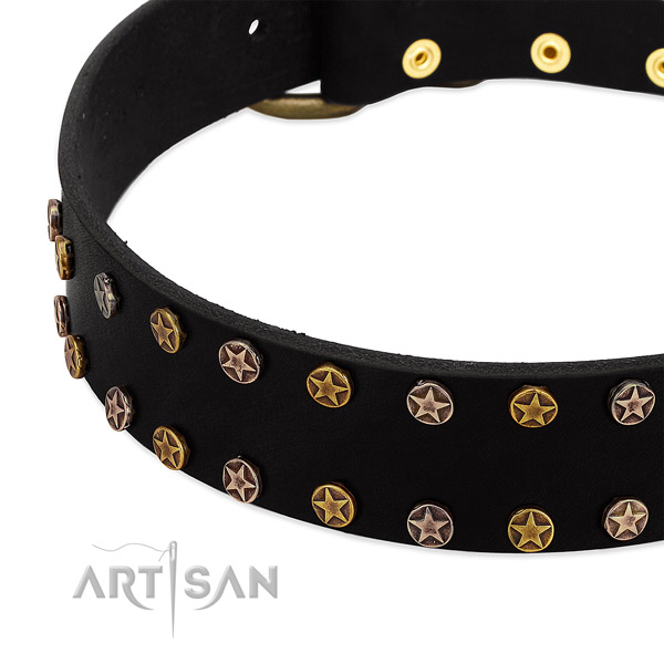 Stylish design decorations on full grain genuine leather collar for your dog