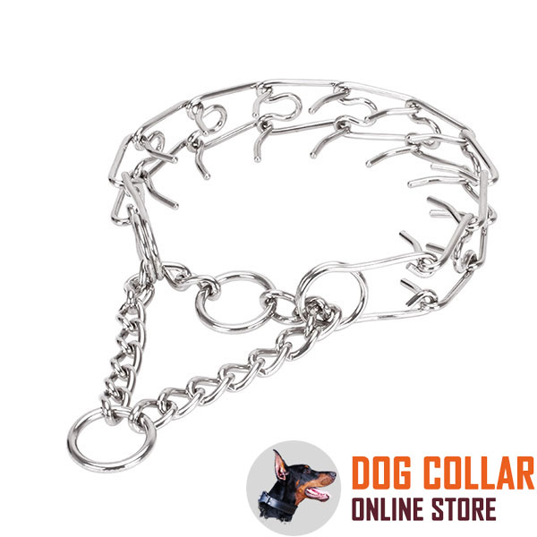 Stainless steel dog pinch collar for large breeds