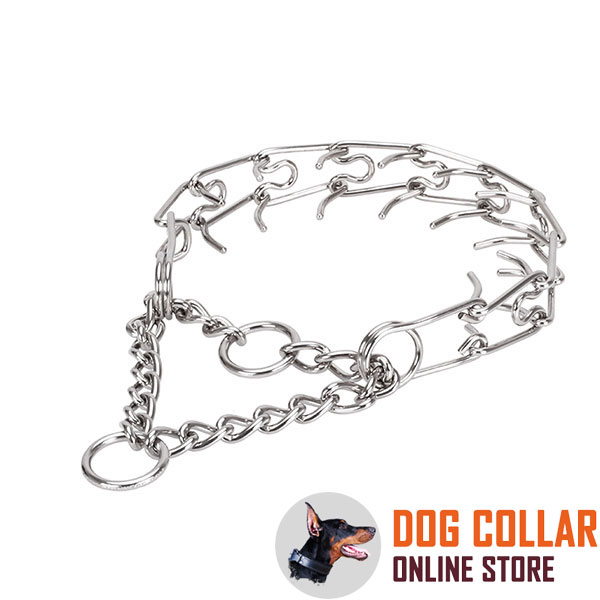 Prong collar of corrosion-proof stainless steel for poorly behaved pets