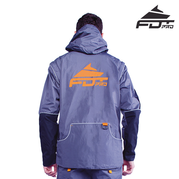 FDT Pro Dog Training Jacket of Grey Color with Handy Side Pockets