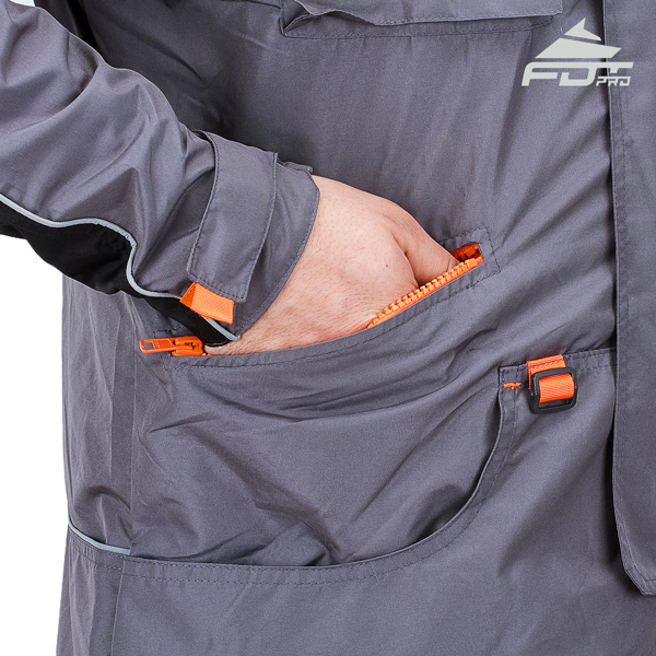 Grey Pro Design Dog Training Jacket with Comfortable Side Pockets