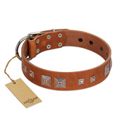 """Egyptian Gifts"" Handmade FDT Artisan Tan Leather dog Collar with Chrome-plated Pyramids"