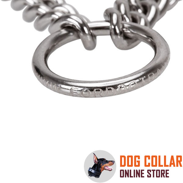 Dog prong collar with strong stainless steel O-ring