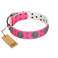 """Pink Delight"" FDT Artisan Pink Leather dog Collar for Everyday Walking"
