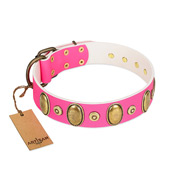 """Drawing Power"" FDT Artisan Pink Leather dog Collar with Engraved Ovals and Dotted Studs"