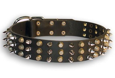 best Leather dog collar with spikes and pyramids for your dog